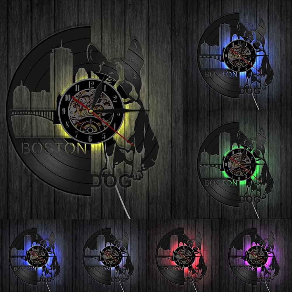 Boston Terrier Dog Wall Clock Pet Shop Sign Art  Breeds French Bulldog Vinyl