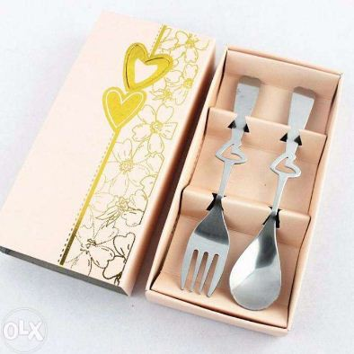 Elegant Spoon and fork with peach box wedding favors
