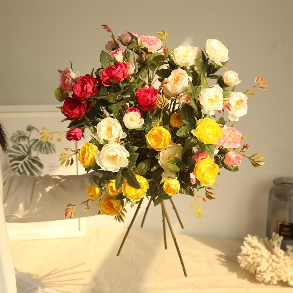 6Pcs//bundle Artificial Fabric Peony Flowers for Wedding Bouquet Party Home Decor
