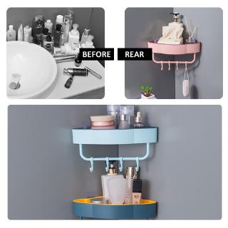 【in Stock】 Free Punch Wall Corner Shower Shelf With Hook Bathroom Shelve Shampoo Shower Shelf