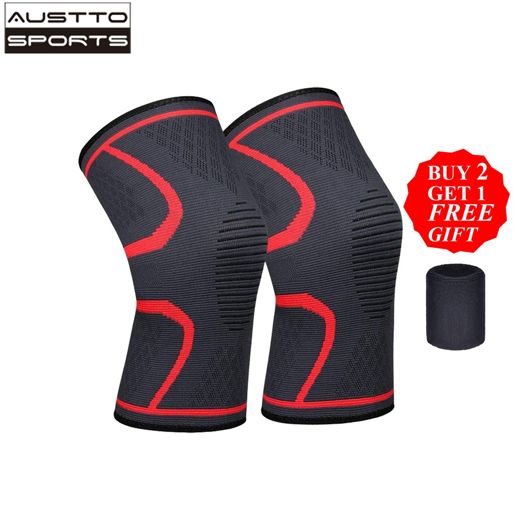 Austto 2PC Knee Guard Knee Support Braces Compression Protection Sleeves  for Running Basketball Squats Fitness Workouts Men Women   Shopee  Philippines