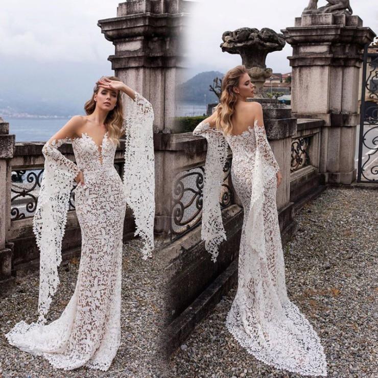 Sexy Deep V Long Sleeve Backless Dress Long Dress Lace Wedding Dress Shopee Philippines,Simple Long White Wedding Dress