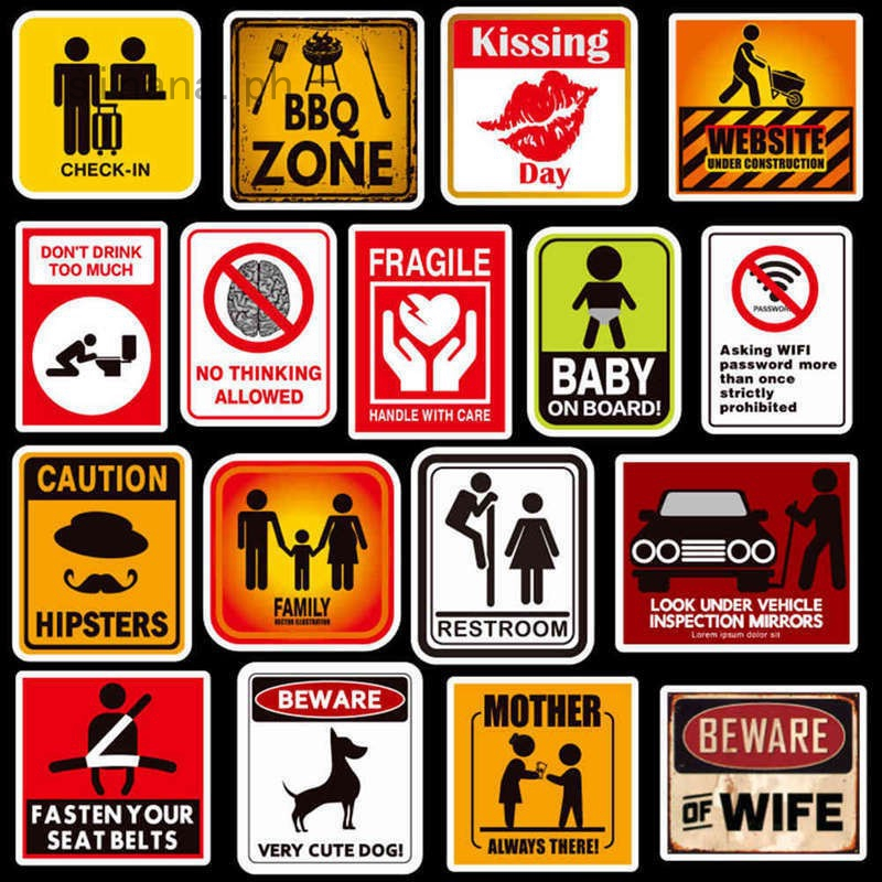 50Pcs//set Warning Sign Stickers For Skateboard Luggage Laptop Phone Car Decal
