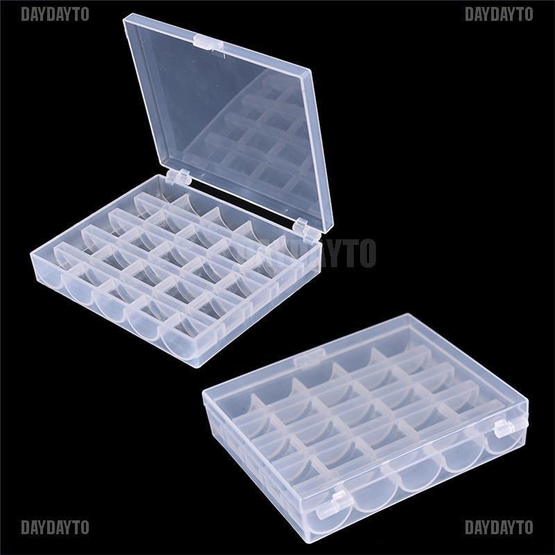 1pc Bobbin Box Sewing Thread Organizer Multi Usage 25 Bobbins Plastic Floss Case