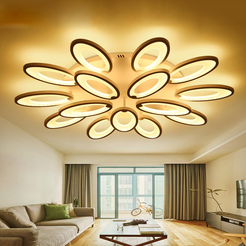 White Acrylic Modern Led Ceiling Lights, Contemporary Living Room Ceiling Lights