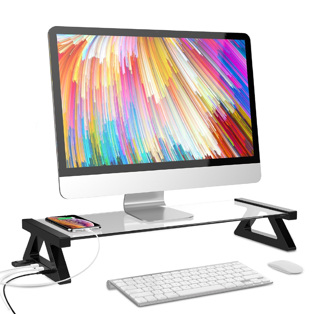 Transparent Computer Monitor Riser Stand Glass Mount Up to 60KG For Laptop  TV PC