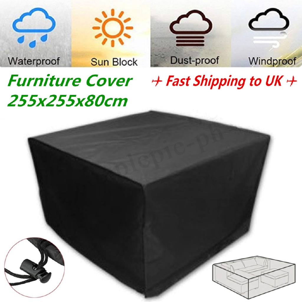 Waterproof Black Color 600d Dust Rain Uv 330x220x90cm Garden Outdoor Furniture Cover Rect Patio Table Desk Chair Home Textile Table & Sofa Linens