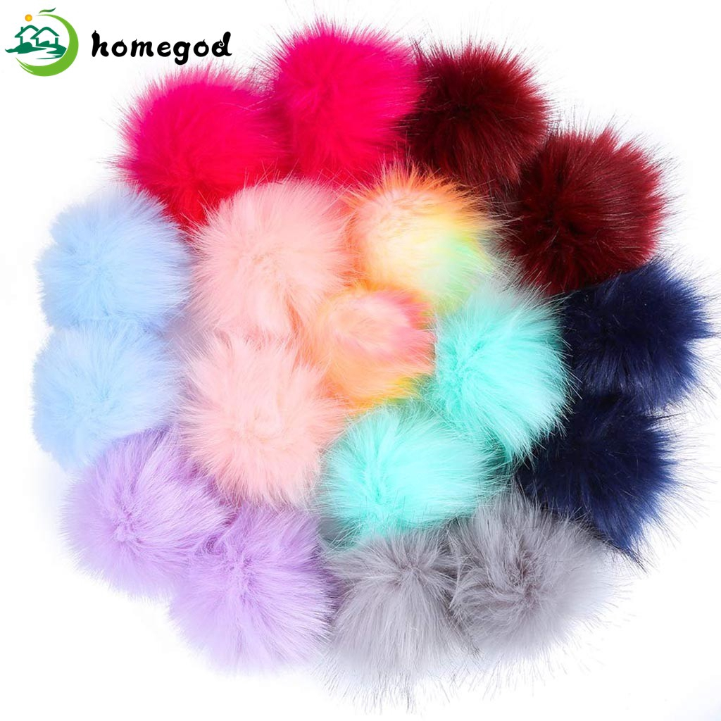 5pcs Faux Fur Pom Pom Balls for Hats Beanies Shoes Scarves Bag Charms