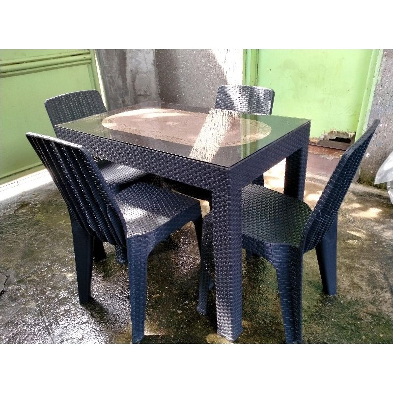 Rattan Dining Set(Table and Chairs) | Shopee Philippines