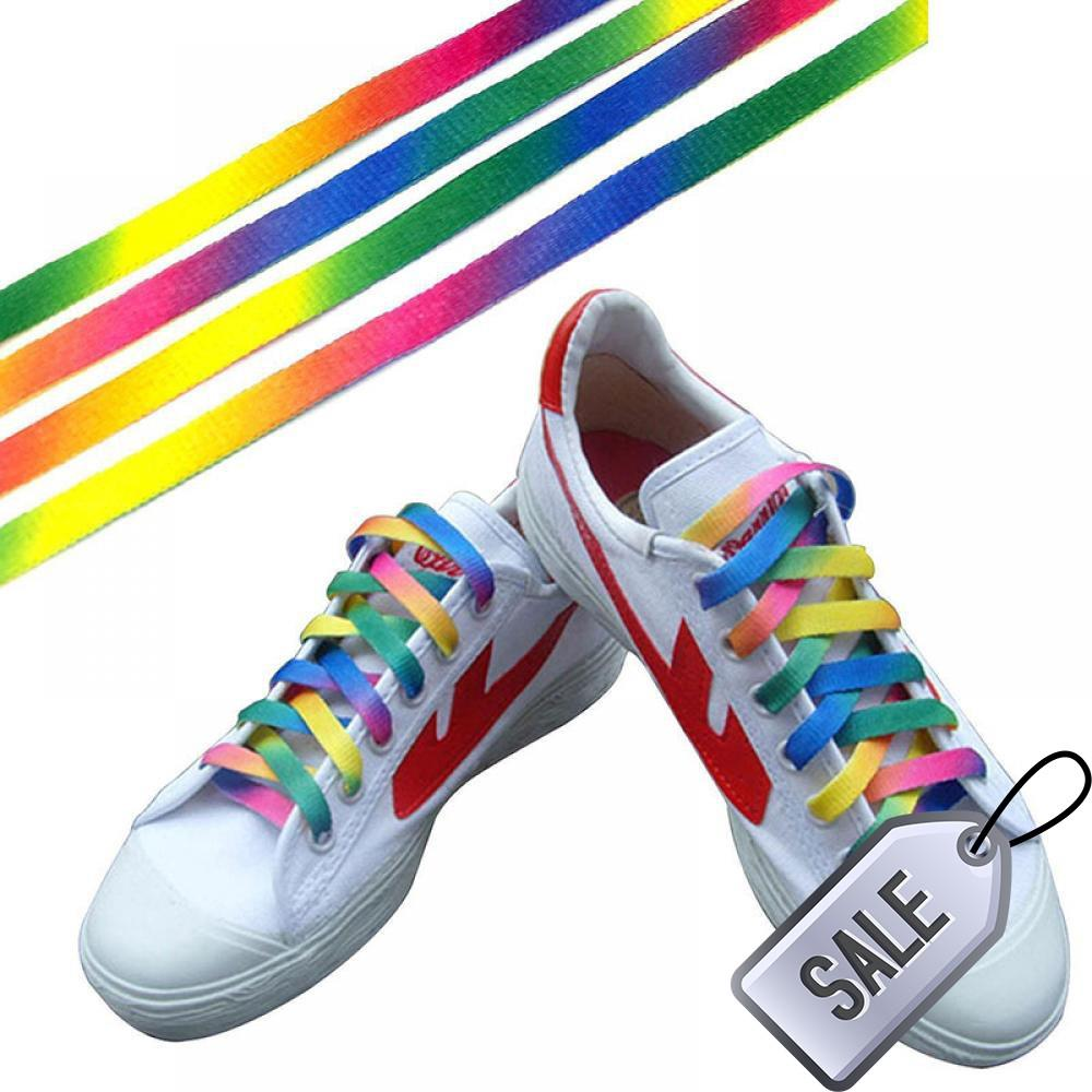b9be84ed81 1pair Sports Canvas Athletic Shoe Laces Strings Flat Rainbow Shoelace