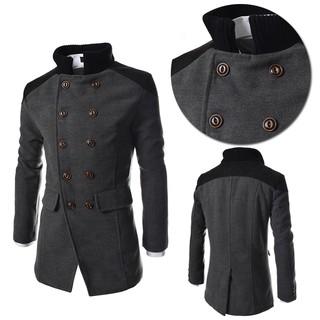 43f1f6b6a5d3 New Fashion Men's Wool Coat Winter Trench Coat Outwear Overcoat Long Jacket    Shopee Philippines