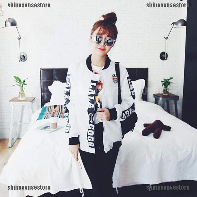 Fashion Women Baseball Coat Korean Students Long Sleeve Jacket Loose Outwear.Top