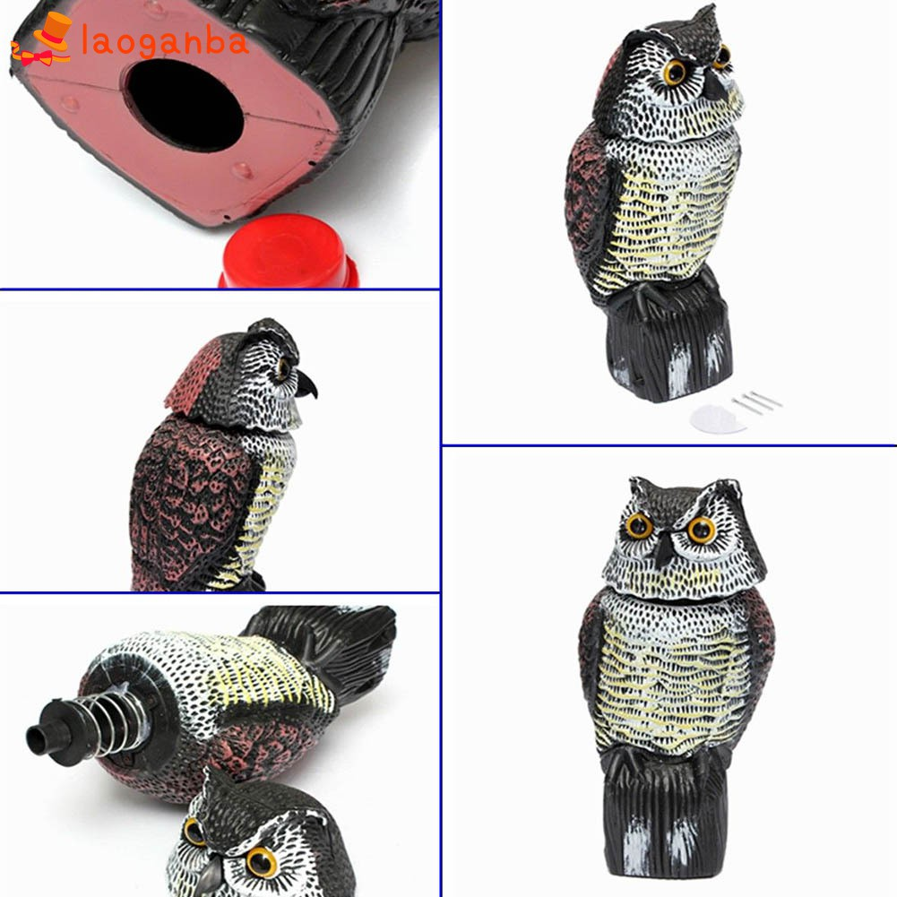 2pcs Realistic Owl Decoy Rotating Head Bird Weed Pest Control Crow Scarecrow