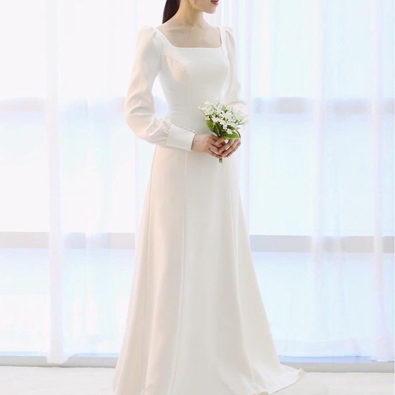 White Satin Long Sleeve Wedding Dress Off 77 Buy