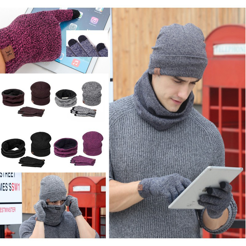 d822049c602 Men s Winter Wool Visor Brim Crochet Beanie Hat Beret Skull Ski Cap Out  Home