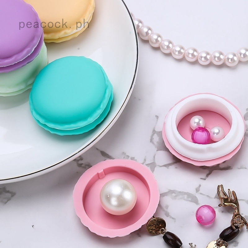 1x Storage Box Cute Large Macaron Candy Color For Jewelry Earring Box Outing US