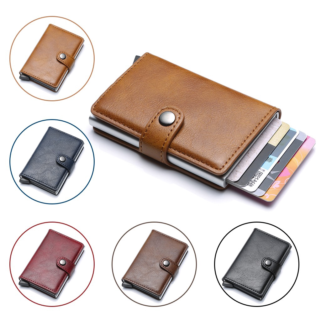 Mens Leather ID Credit Card Holder RFID Protector Money Wallet Clip Card Case L