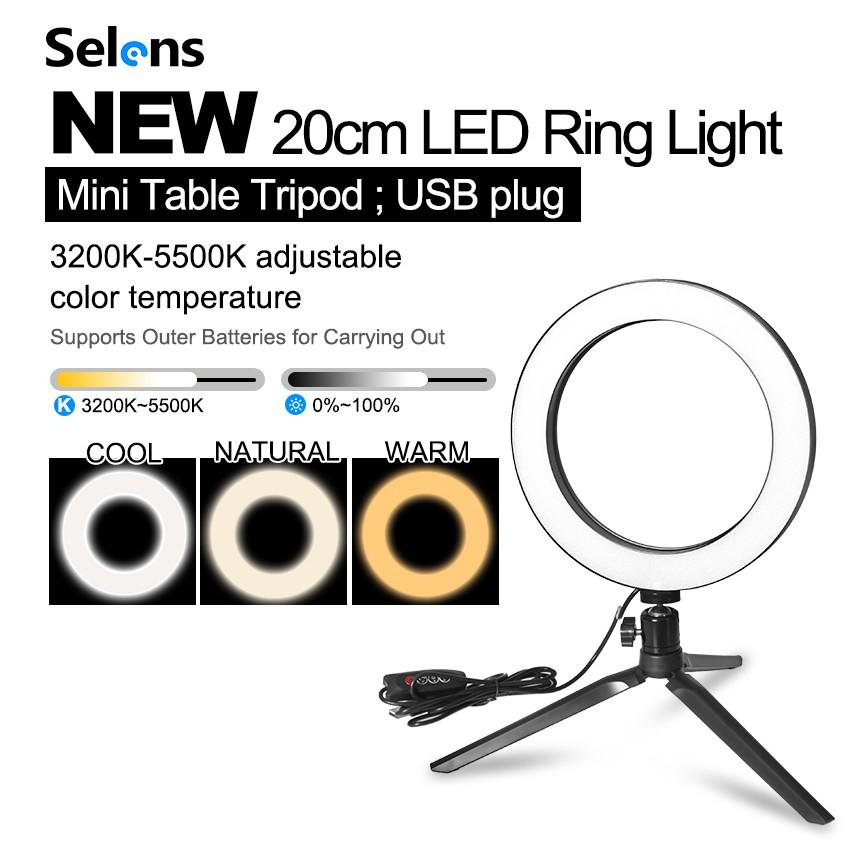 Selens 6'' Portable Dimmable LED Phone Camera Ring Light Video Annular Lamp  20CM