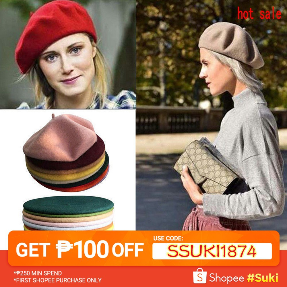 1a178e05 Women's fashion solid color peas soft beret BERET HAT | Shopee Philippines