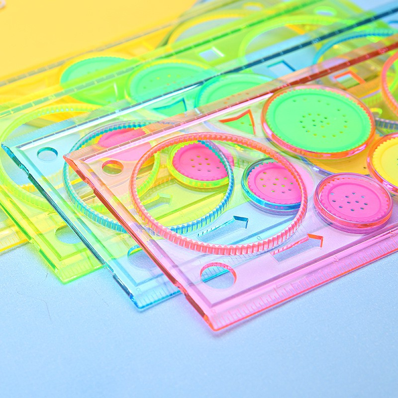 School & Educational Supplies 2 Pcs Multifunctional Children Variety Spirograph Drawing Plastic Ruler Color Random In Pain Rulers