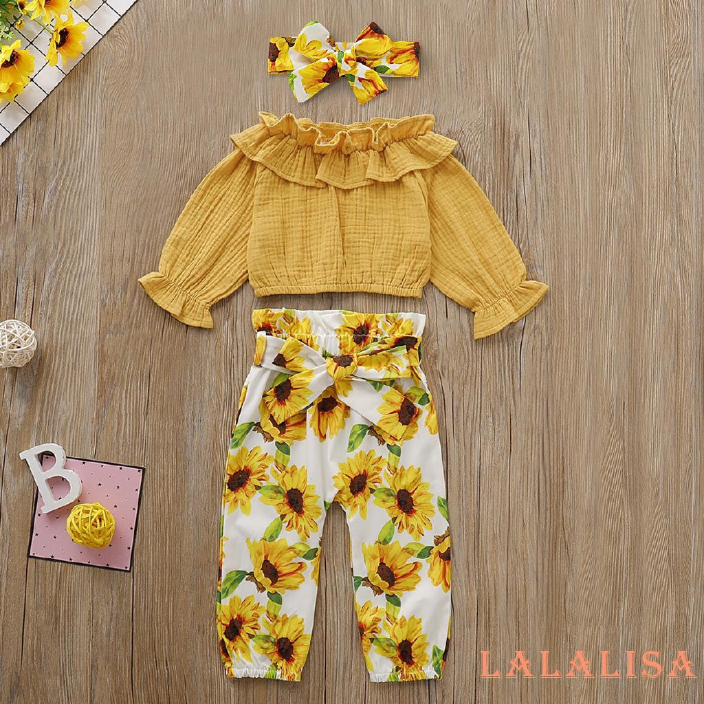 Sunflower Skirt 3PCS Toddler Baby Girls Clothes Ruffle Short Sleeve Top Headband Outfit Floral Dress