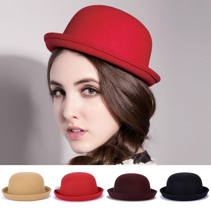 58a6571ec486f Ladies Vintage Wool Cute Trendy Bowler Derby Hat Cap Gift