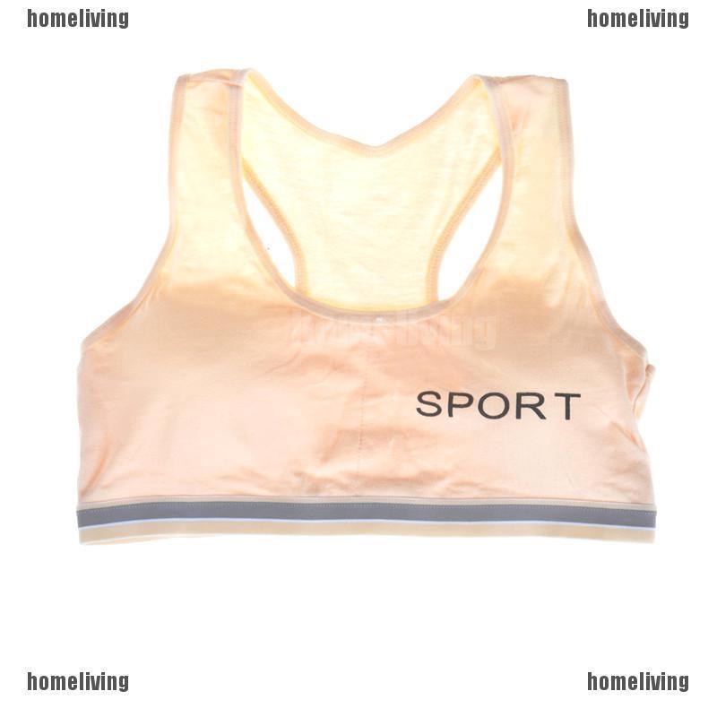 2 Pack Girls Sports Bra Puberty Gym Underwear Wireless with Chest Pad Cotton