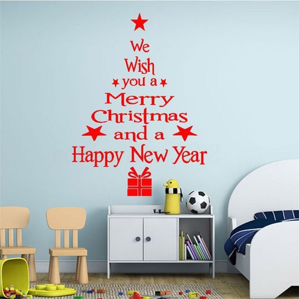 Removable we wish you a Merry Christmas tree window door wall Sticker Any Colour