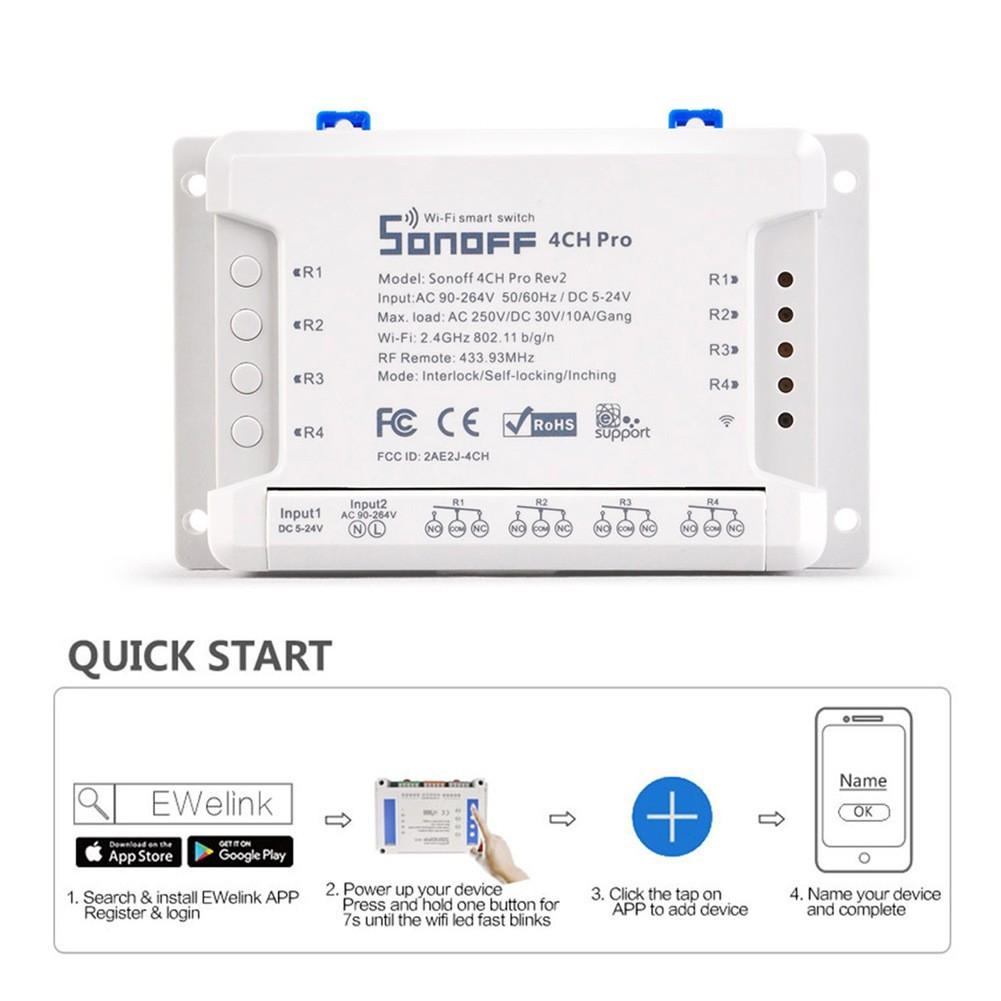 Sonoff 4CH Pro R2 Smart Wifi Switch 433MHz RF Wifi Light Switch 4 Gang 3  Interlocked with Alexa