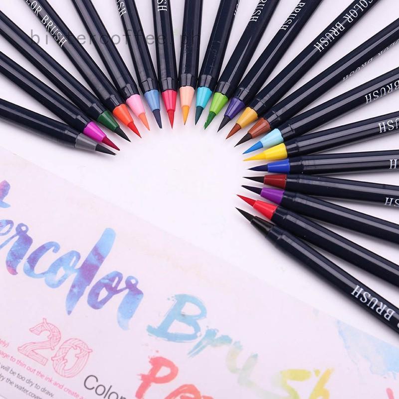 20 Color Premium Painting Brush Pen Set Watercolor Copic Markers Pen ...