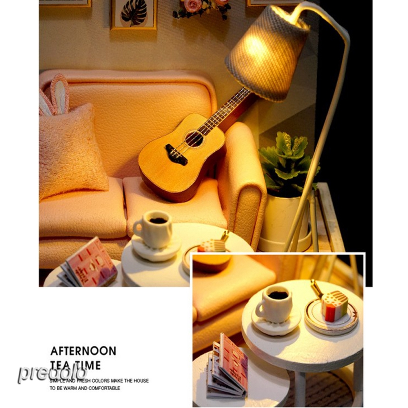 LED Light 1:24 DIY Wooden Miniature Dollhouse Teahouse Kits with Furniture
