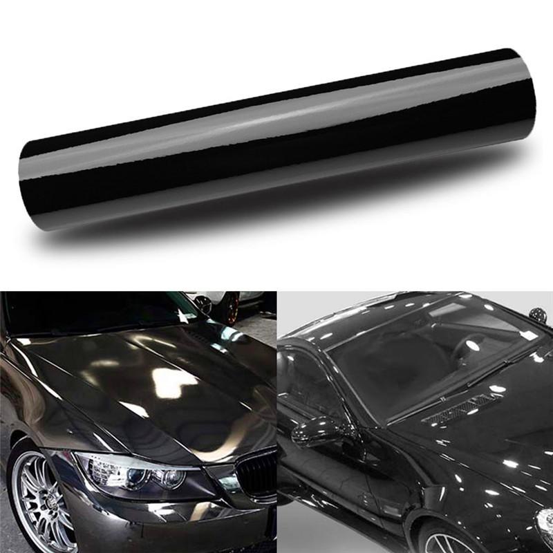 *Gloss Glossy Black Vinyl Car Wrap Sticker Decal Bubble Free Air Release  Film