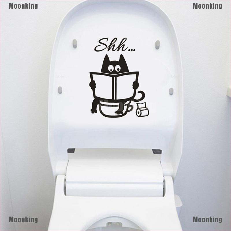 Moonking Muv Cute Cat Shh Toilet Wall Stickers Art Vinyl Mural Home Room Decor Removable Lj Nk Shopee Philippines