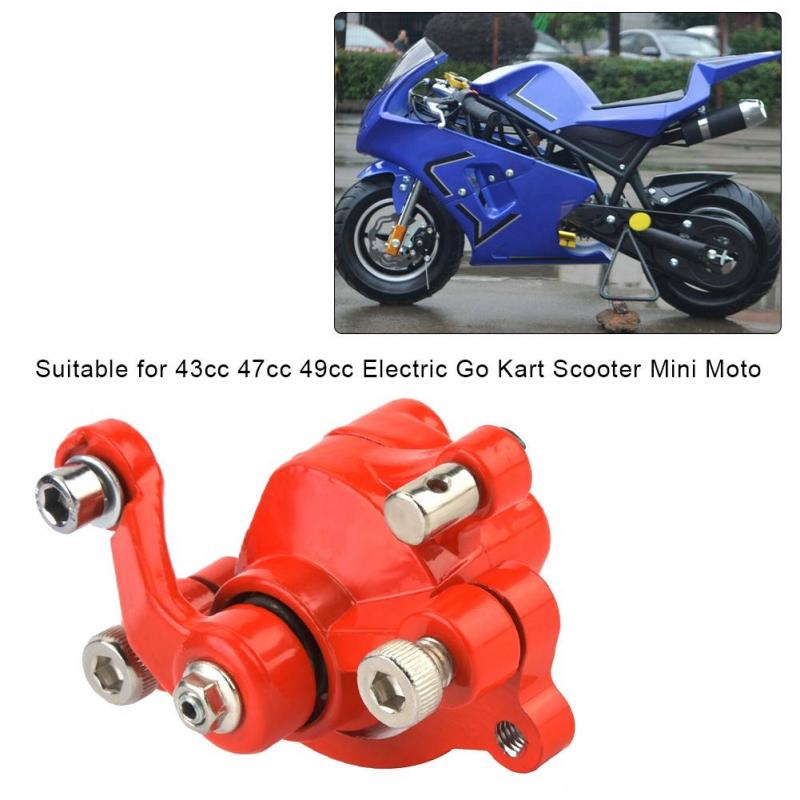 Cuque Rear Right Disc Brake Caliper with 120mm Disc Rotor Assembly Pair Set Red and Silver for 43 47 49cc Electric Go Kart Scooter Mini Moto