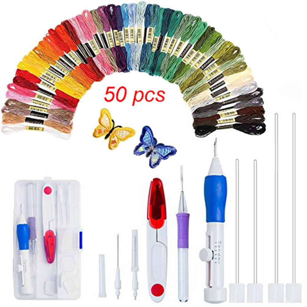 Magic DIY Embroidery Pen Set with 100 Color Threads Craft Tool and 36 sewing tools,Cross Stitch Tool Kit for Beginners Hand Sewing 136pcs Embroidery Pen Punch Needle for DIY Sewing and Cross Stitch Project