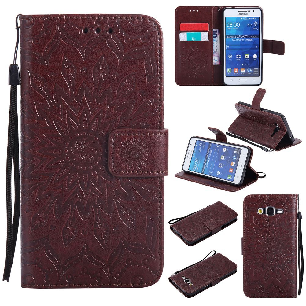 new style 9066c 4e212 For Samsung Galaxy Grand Prime G530 Brown Wallet Leather Flip Case #100