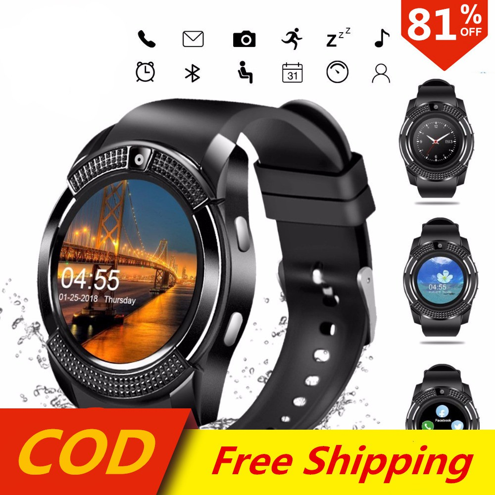 V8 Bluetooth Waterproof Smartwatch Touch Screen Smart Wrist Watch With  Camera Can Supoort TF Card