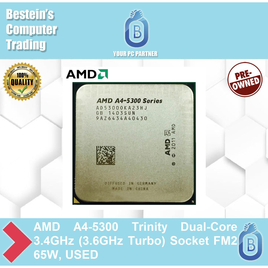 Amd A4 5300 Trinity Dual Core 3 4ghz 3 6ghz Turbo Socket Fm2 65w Used Shopee Philippines