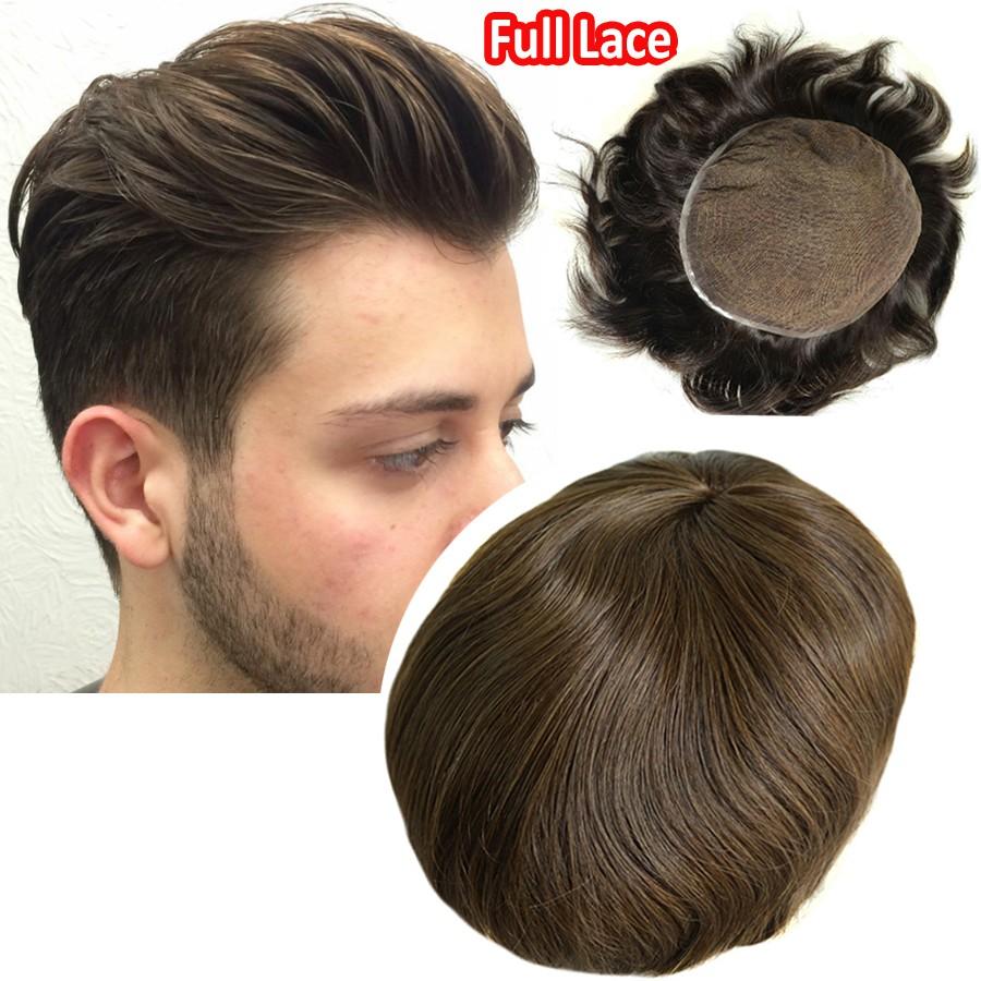 Men Wig 100% Human Hair Toupee Full Lace