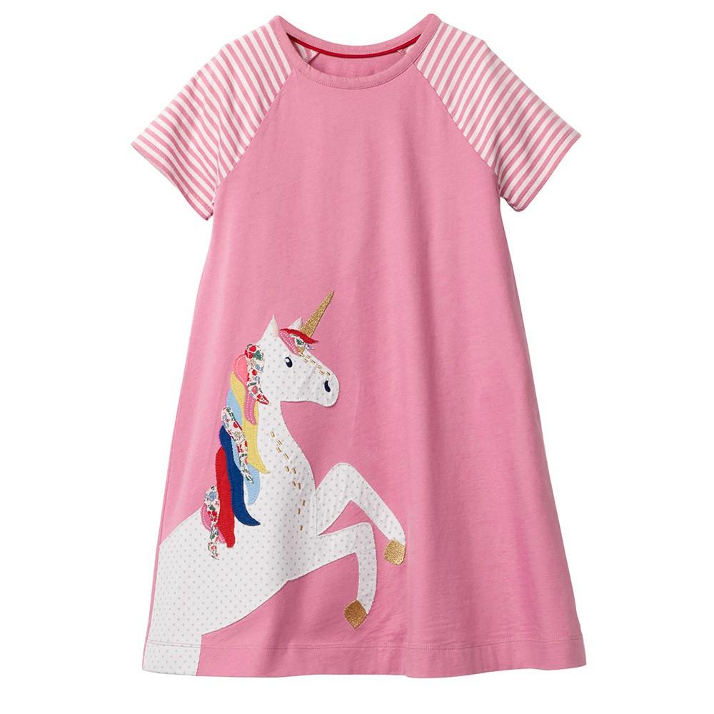 Girls Dress Long Sleeve Cotton Cartoon Sequins Pink Striped Dress Size 5-12