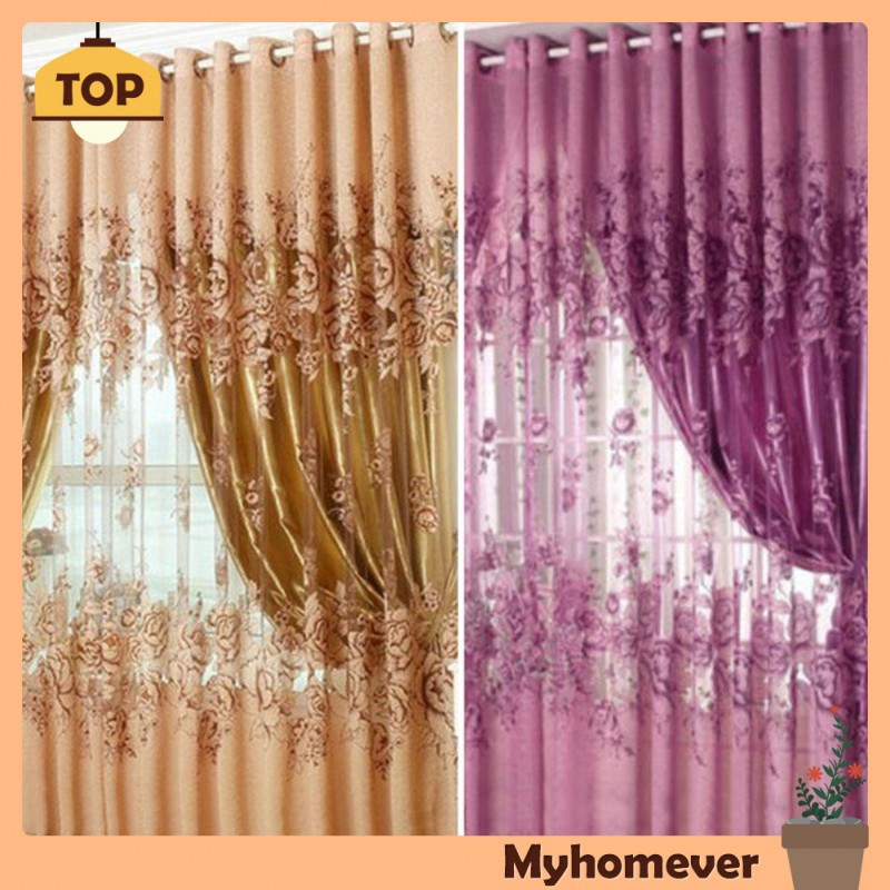 Myhomever European Peony Pattern Voile Curtains Tulle Sheer Valances Home Decor