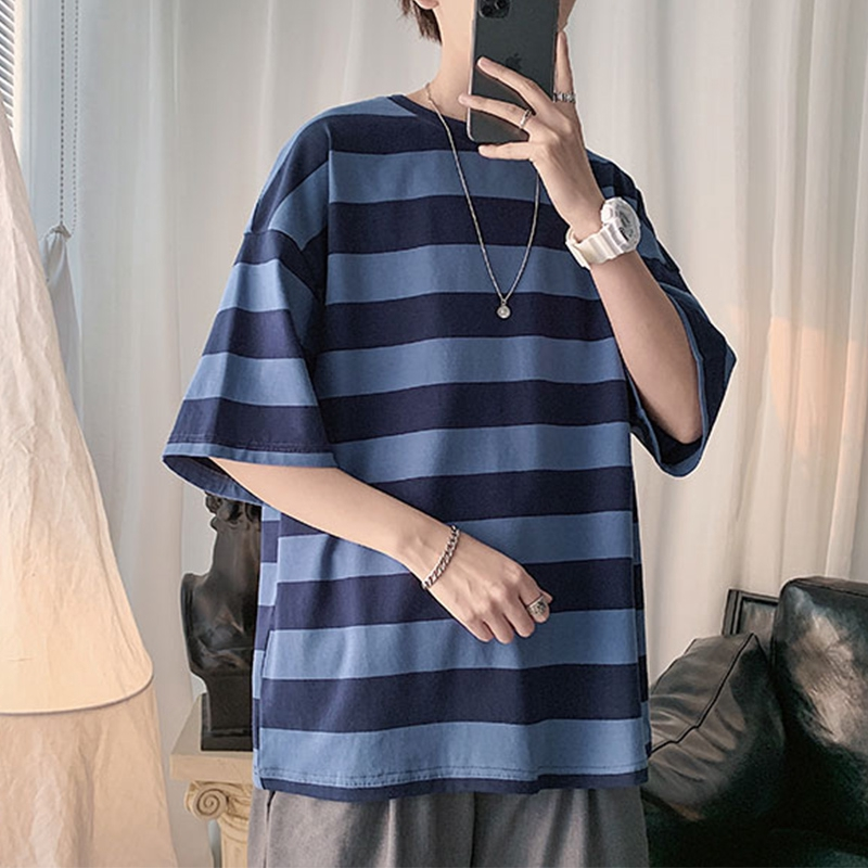 2020 Korean Trend Tops Shirts For Men Fashion Striped Men Tshirts Men S Oversized Casual Short Sleeve Tees Streetwear Man Summer Tshirt Shopee Philippines
