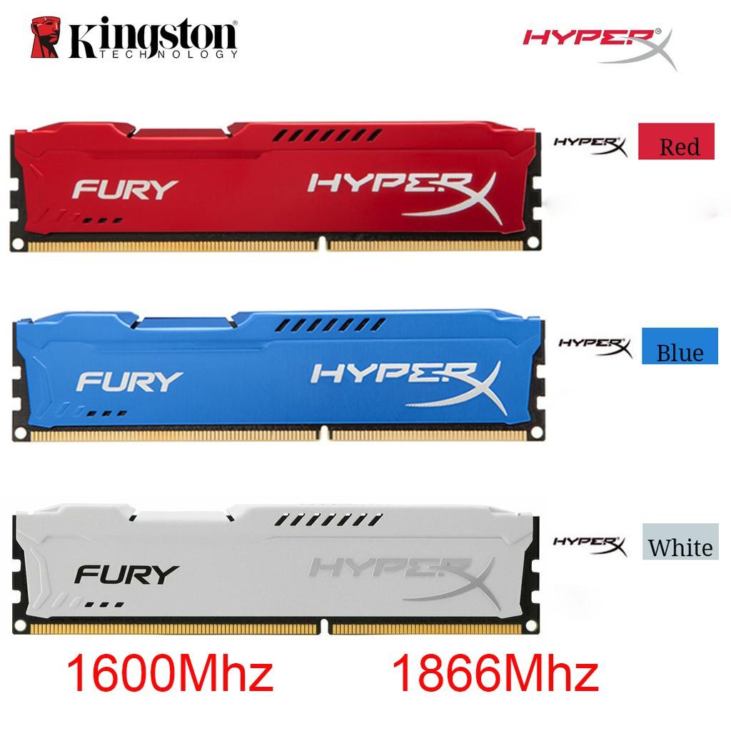 New Kingston HyperX Fury 4GB 8GB 16GB 32GB PC3-14900 1866MHz PC3-12800 1600MHZ DDR3 CL10 DIMM  Blue Red White