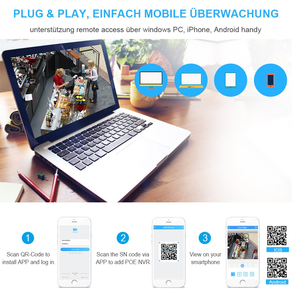 Hiseeu Surveillance H 264 PoE NVR 4Channel For FULL HD 1080P IP Camera PoE  4CH