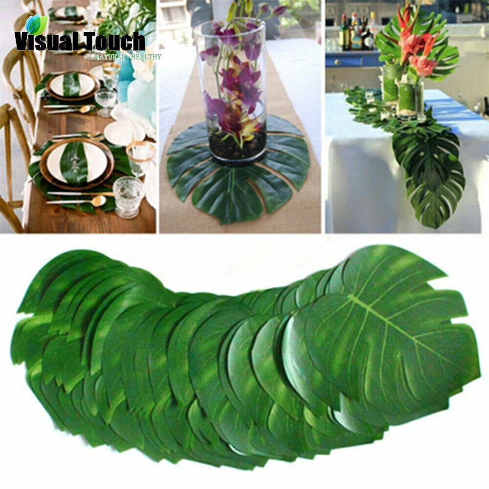 12Pcs Artificial Tropical Palms Leaves Fake Plant Ornaments Home Office Decor US