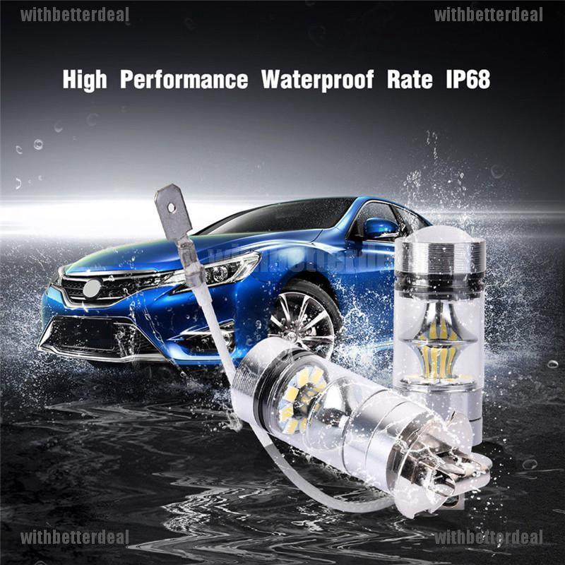 2x H3 6000K White For 100W High Power LED Fog Light Driving Bulb DRL Waterproof