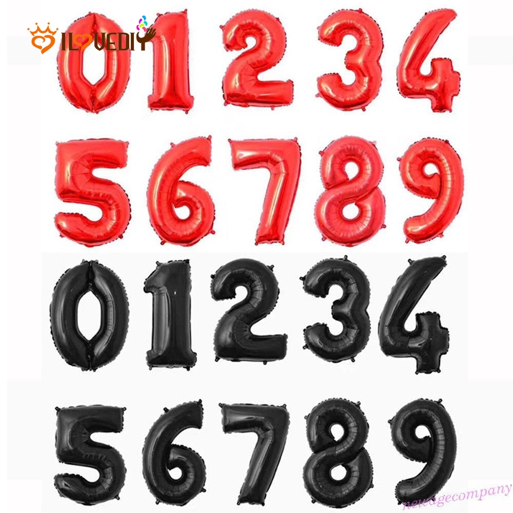 1PC Number 0-9 Aluminum Foil Balloon Red Black Birthday Wedding Party Decor 32/'/'