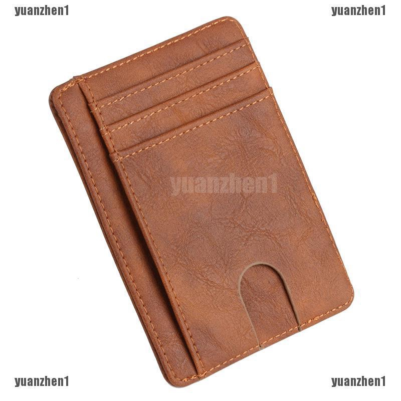 HX 1PC PU Leather Stainless Steel Money Clip Credit Card ID Wallet Holder