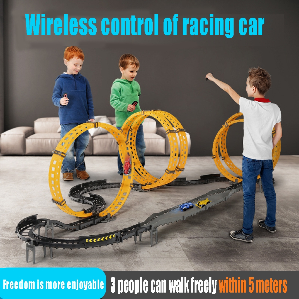 Rc Toy Race Track Diy Remote Control Kids Car Electric Handle Racing Car Track Model Railway Road Shopee Philippines