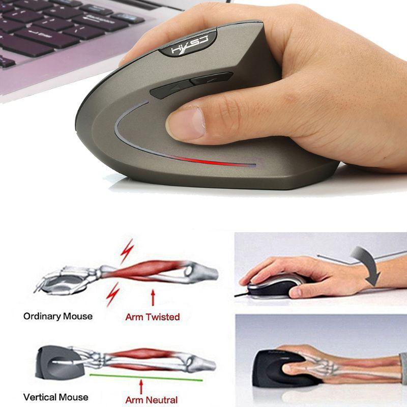 2.4G 800-2400DPI Wireless Mouse Wrist Healing Vertical Mice Ergonomic Optical